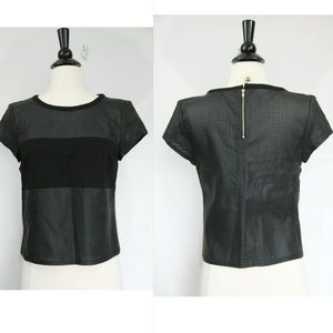 Guess black faux perforated leather crop top